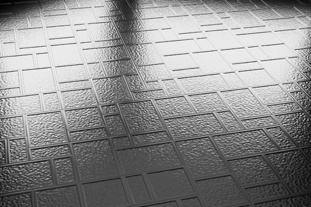 flooring: Abstract industrial creative metal construction monochrome illustration: decorative steel flooring metal surface made of  rectangular plates diagonal view under bright lights, industrial 3d illustration Stock Photo