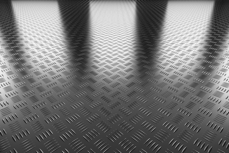 Abstract industrial creative metal construction monochrome illustration: steel flooring metal surface perspective view under bright lights, industrial 3d illustration