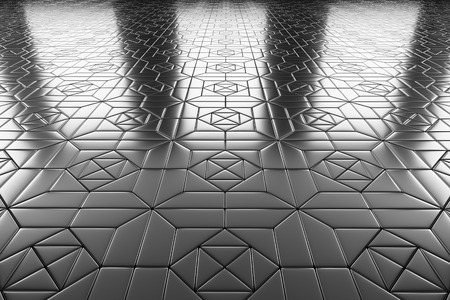 specular: Abstract industrial creative metal construction monochrome illustration: decorative steel flooring metal surface with square decor, perspective view under bright lights, industrial 3d illustration