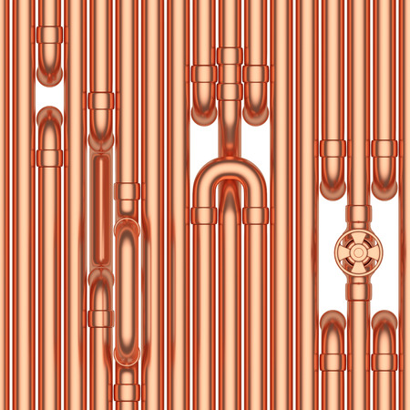 Abstract industrial construction seamless background: copper pipes, valves, tubes, fittings, couplers and other copper pipeline elements isolated on white industrial 3d illustration