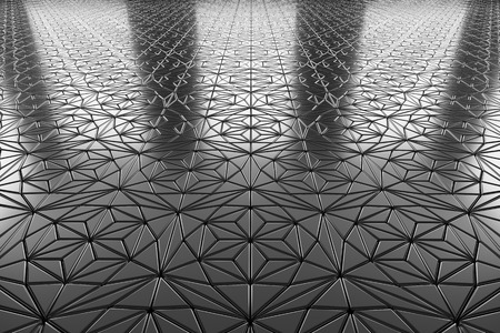 flooring: Abstract industrial creative metal construction monochrome illustration: decorative steel flooring metal surface with ornament perspective view under bright lights, industrial 3d illustration