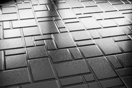 specular: Abstract industrial creative metal construction monochrome illustration: decorative steel flooring metal surface with rectangular plate closeup diagonal view under bright lights, industrial 3d illustration