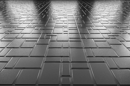 metal monochrome: Abstract industrial creative metal construction monochrome illustration: decorative steel flooring metal surface with decor made of rectangular plates perspective view under bright lights, industrial 3d illustration