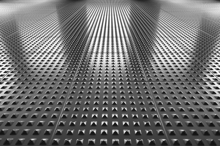 metal construction: Abstract industrial creative metal construction monochrome illustration: steel floor metal surface perspective view under bright lights, industrial 3d illustration Stock Photo