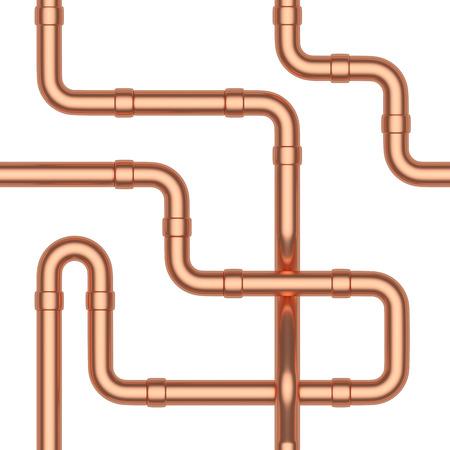 copper: construcción industrial resumen de fondo sin fisuras: tubos de cobre y otros elementos de tuberías de cobre aislados en blanco, ilustración industrial 3d