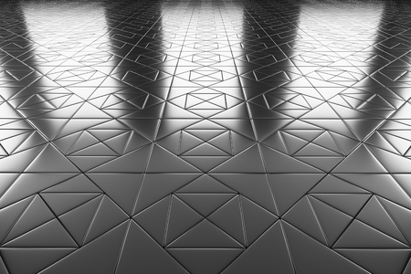 industrial decor: Abstract industrial creative metal construction monochrome illustration: decorative steel flooring metal surface with square decor perspective view under bright lights, industrial 3d illustration Stock Photo