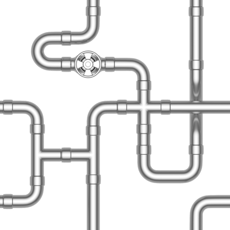 Abstract industrial construction seamless background: steel pipes, valves, tubes, fittings, couplers and other steel pipeline elements isolated on white, industrial 3d illustration
