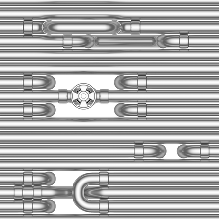Abstract industrial construction seamless background: steel pipes, tubes, valves, fittings, couplers and other steel pipeline elements isolated on white, industrial 3d illustration