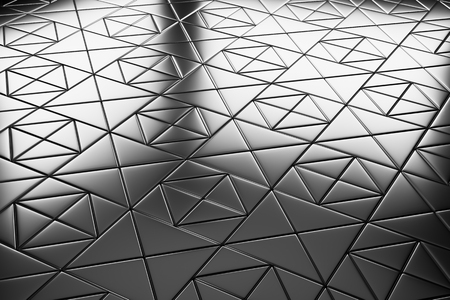 metal monochrome: Abstract industrial creative metal construction monochrome illustration: decorative steel flooring metal surface with square decor closeup diagonal view under bright lights, industrial 3d illustration Stock Photo