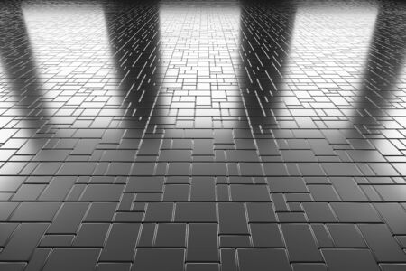 flooring: Abstract industrial creative metal construction monochrome illustration: steel flooring metal surface made of rectangular plates perspective view under bright lights, industrial 3d illustration