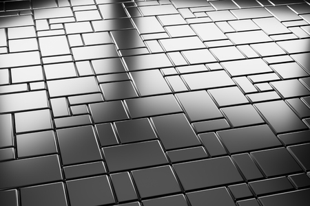 flooring: Abstract industrial creative metal construction monochrome illustration: industrial steel flooring metal surface with rectangular plates closeup diagonal  view under bright lights, industrial 3d illustration