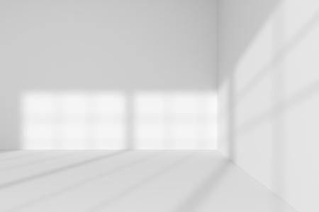 抽象的な建築の白い部屋のインテリア: 白い壁, 白い床, 白い天井の] ウィンドウで、任意のテクスチャなしから太陽光が 3 d イラスト空白い部屋コー
