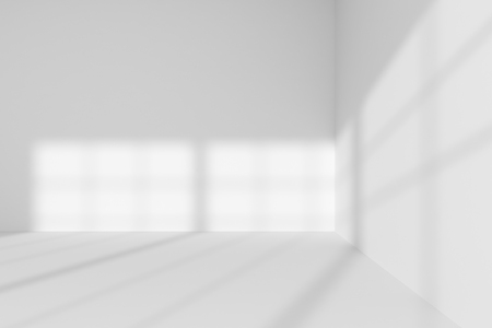 Abstract architecture white room interior: empty white room corner with white walls, white floor, white ceiling with sun light from window, without any textures, 3d illustration Stock Photo