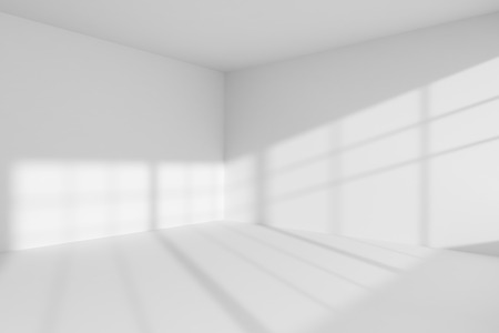 home corner: Abstract architecture white room interior: empty white room corner with white walls, white floor, white ceiling with sunlight from window, without any textures, 3d illustration