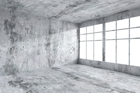 dirty room: Abstract architecture concrete room interior: empty room corner with spotted dirty concrete walls, concrete floor, concrete ceiling and window with light from window, 3d illustration Stock Photo