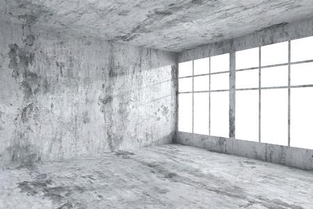 Architectuur concreet ruimtebinnenland: lege ruimte hoek met gevlekte vuile betonnen muren, betonnen vloer, betonnen plafond en raam met licht van venster, 3d illustratie