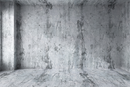 dirty room: Abstract architecture concrete room interior: empty room wall with corner with dirty spotted concrete walls, concrete floor, concrete ceiling with light from window, 3d illustration