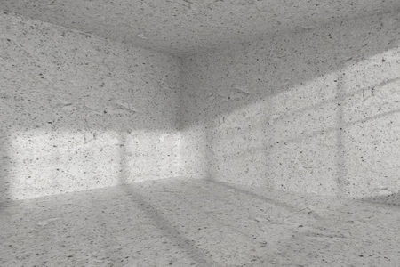 dirty room: Abstract architecture spotted concrete room interior: empty room corner with dirty spotted concrete walls, concrete floor, concrete ceiling with light from window, 3d illustration