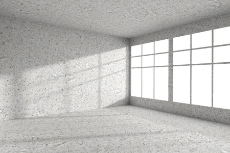 dirty room: Abstract architecture spotted concrete room interior: empty room corner with dirty spotted concrete walls, concrete floor, concrete ceiling and windows with light from window, 3d illustration