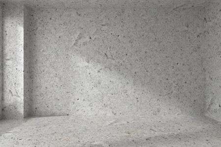 dirty room: Abstract architecture spotted concrete room interior: empty room dirty spotted concrete wall with corner, concrete floor, concrete ceiling [and window] with light from window, 3d illustration