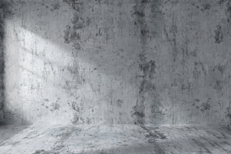 dirty room: Abstract architecture concrete room interior: empty room with dirty spotted concrete walls, concrete floor, concrete ceiling with light from window, 3d illustration