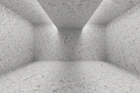 interior lighting: Abstract industrial architecture interior: empty room with spotted concrete walls, floor and ceiling and with opening in ceiling for lighting 3d illustration