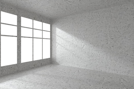 dirty room: Abstract architecture spotted concrete room interior: empty room corner with dirty spotted concrete walls, concrete floor, concrete ceiling and window with sunlight from window, 3d illustration Stock Photo