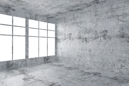 dirty room: Abstract architecture concrete room interior: empty room corner with dirty spotted concrete walls, concrete floor, concrete ceiling and window with skylight from window, 3d illustration