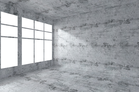 dirty room: Abstract architecture concrete room interior: empty room corner with dirty spotted concrete walls, concrete floor, concrete ceiling and window with light from window, 3d illustration