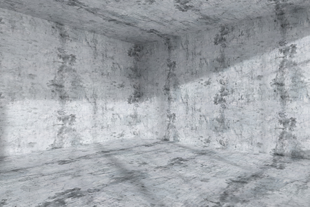 dirty room: Abstract architecture concrete room interior: empty dark room corner with dirty spotted concrete walls, concrete floor, concrete ceiling with light from window, 3d illustration