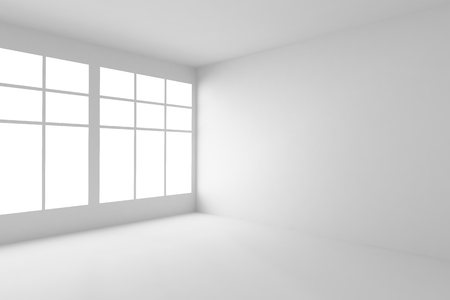 Abstract architecture white room corner interior: empty white room corner with white walls, white floor, white ceiling and window with light from window, without any textures, 3d illustration