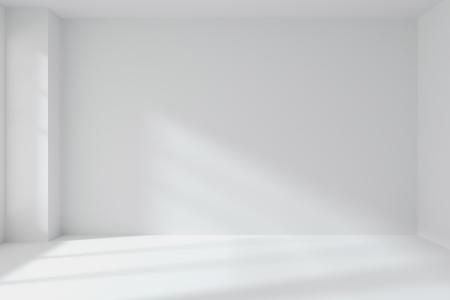 抽象的な建築の白い部屋のインテリア: 角、白い床, 白い天井の] ウィンドウで、任意のテクスチャなしから光が 3 d イラスト空の白い部屋の壁 写真素材