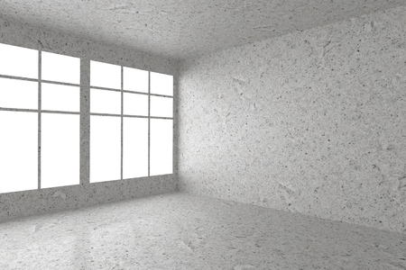 dirty room: Abstract architecture spotted concrete room interior: empty room corner with dirty spotted concrete walls, concrete floor, concrete ceiling and window with skylight from window, 3d illustration
