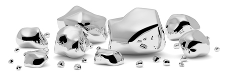 Shiny gray metal nuggets, pieces and grains with reflections and shadows isolated on white background