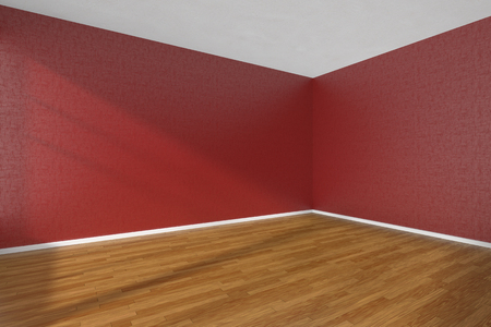 parquet floor: Empty room with hardwood parquet floor and walls with red textured wallpaper and sunlight from window, perspective view, 3d illustration