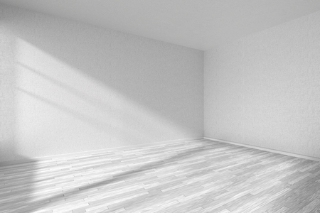 Empty room with white hardwood parquet floor and walls with white textured wallpaper and sunlight from window, perspective view, 3d illustration Archivio Fotografico