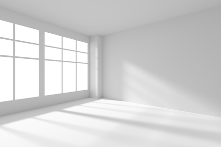 skylight: Abstract architecture white room interior - white empty room corner with white walls, white floor, white ceiling and window with sunlight from window, without any textures, 3d illustration Stock Photo