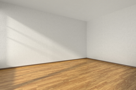 Lege kamer met hardhouten parketvloer en muren met witte geweven behang en zonlicht vanuit het venster, perspectief, 3d illustratie