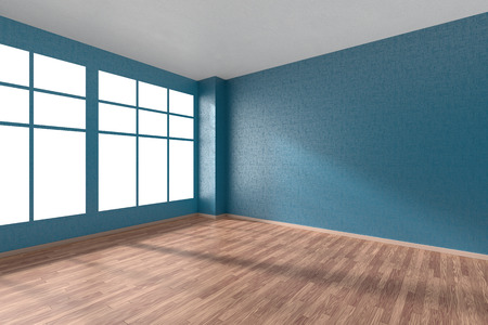Empty room with hardwood parquet floor, big window, walls with blue textured wallpaper and sunlight from window, perspective view, 3d illustration