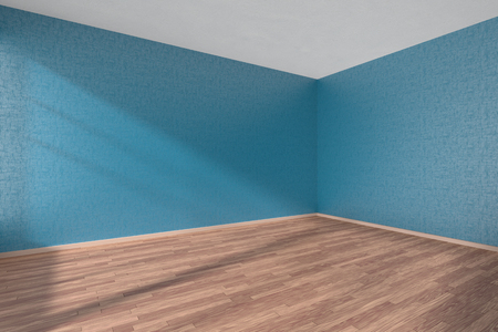 parquet floor: Empty room with wooden parquet floor and walls with blue textured wallpaper and sunlight from window, perspective view, 3d illustration