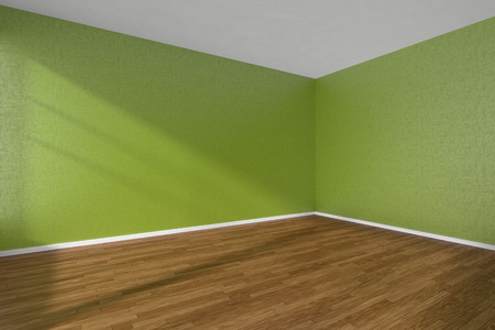 Empty room with dark hardwood parquet floor and walls with green textured wallpaper and sunlight from window, perspective view, 3d illustration