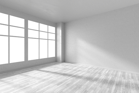 parquet floor: Empty room with white hardwood parquet floor, big window, walls with white textured wallpaper and sunlight from window, perspective view, 3d illustration