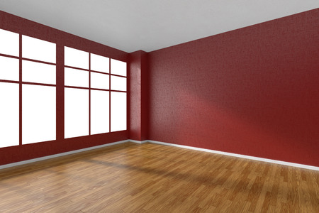 Empty room with hardwood parquet floor, big window, walls with red textured wallpaper and sunlight from window, perspective view, 3d illustration