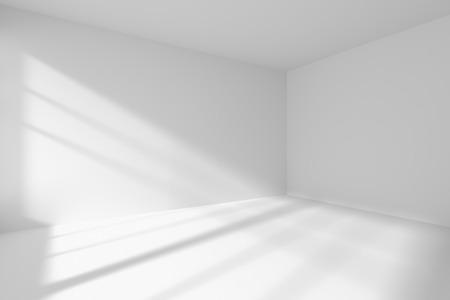 interior room: Abstract architecture white room interior - empty white room corner with white walls, white floor, white ceiling with sunlight from window, without any textures, 3d illustration Stock Photo