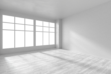 view wallpaper: Empty white room with hardwood parquet floor, big window and walls with  textured wallpaper and sunlight from window, perspective view, 3d illustration