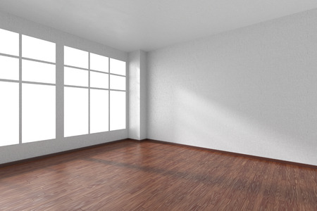 parquet floor: Empty room with dark wooden hardwood parquet floor, big window, walls with white textured wallpaper and sunlight from window, perspective view, 3d illustration