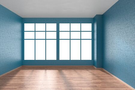 floorboard: Empty room with hardwood parquet floor, big window and walls with blue textured wallpaper and sunlight from window, perspective view, 3d illustration