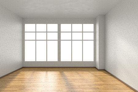 view window: Empty room with hardwood parquet floor, big window and walls with white textured wallpaper and sunlight from window, perspective view, 3d illustration