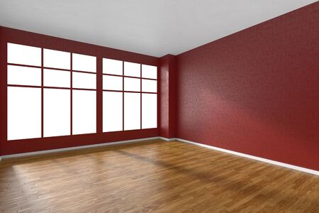 parquet floor: Empty room with hardwood parquet floor, big window and walls with red textured wallpaper and sunlight from window, perspective view, 3d illustration