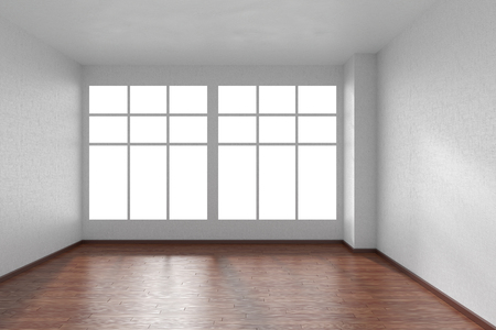 view wallpaper: Empty room with dark hardwood parquet floor, big window and walls with white textured wallpaper and sunlight from window, perspective view, 3d illustration